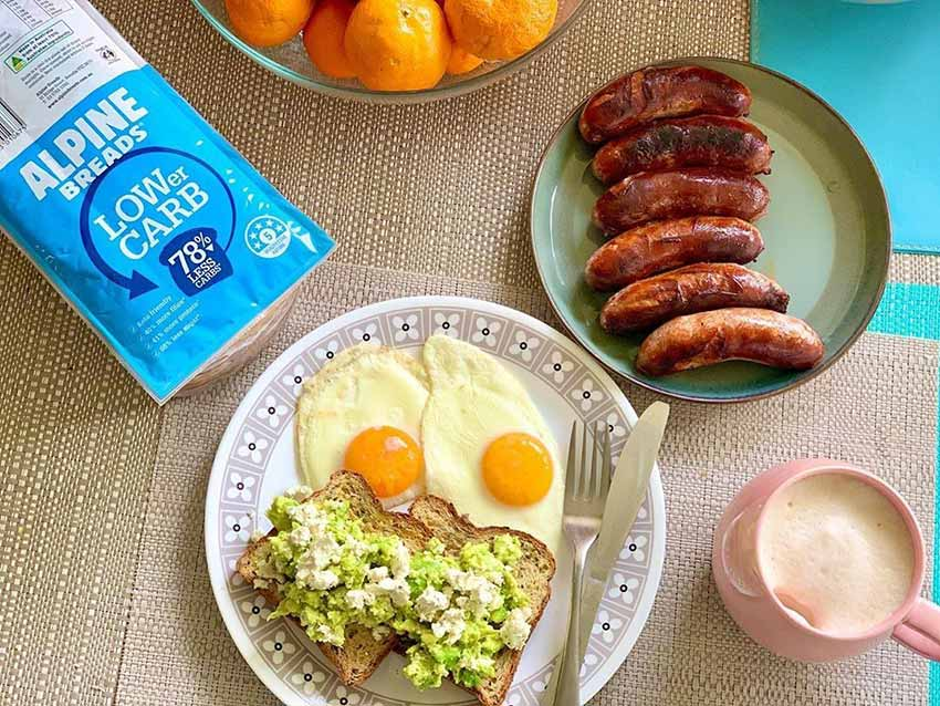 Low carb bread with eggs sausages and madarins